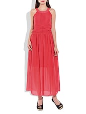 Red Poly Georgette Gathers Pin Tuck Dress - By