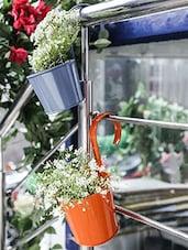Orange ,Blue Metal Planter - By