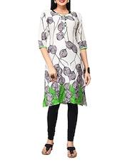 White & Green Printed Rayon Cotton Kurta - By