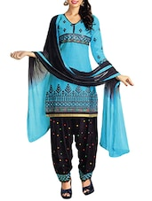 Blue Cotton Printed Unstitched Dress Material - By