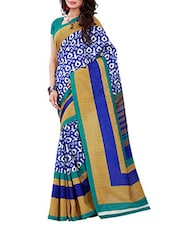 Royal Blue And White Printed Bhagalpuri Silk Saree - By