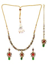 Golden Metal Alloy Embellished Necklace Set - By