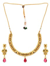 Golden Metal Alloy Beaded Necklace Set - By