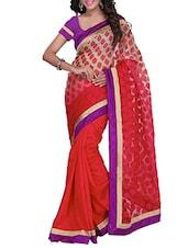 Red Banarasi Brocade Silk Saree With Blouse Piece - By