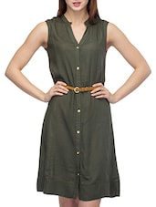 Green Viscose Solid Shirt Dress - By