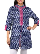 Navy Blue And Magenta Printed Cotton Kurta - By