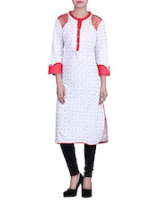 Cream Printed Cotton Kurta With Embroidered Shoulders - By