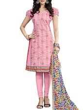 Pink Chanderi Embroidery Dress Material - By