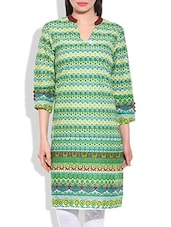 Green Multi Cotton Kurta -  online shopping for kurtas