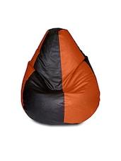Black & Brown Leatherette Bean Bag - By