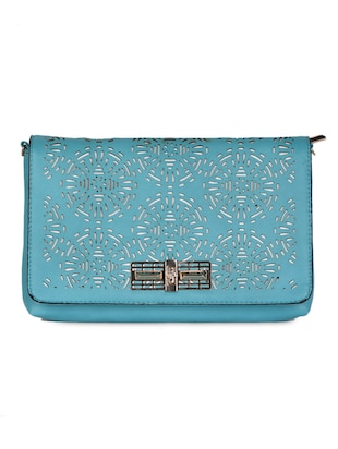 blue Leatherette Cut Work Clutch - 985221 - Standard Image - 6