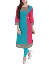 Blue & Pink Printed Round Neck Cotton Kurta - By