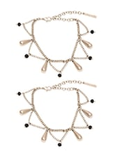 Silver And Black Metal Alloy Anklet With Toe Ring (set Of 2) - By