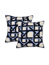 Blue Cotton Set Of 5 Cushion Covers - By