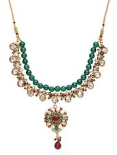 White,gold,green Metal Alloy,beads,stones Necklace - By