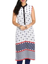 White- Blue Colored, Rayon Printed Kurta - By
