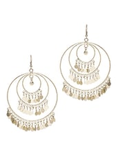 Silver Lakh, Brass, Golden Polish, Gold Plated, Beads, Pearls, Tassels, Filigree, Marble, Zircon, Chand Bali Earring - By