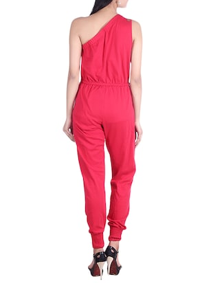 Solid red one-shoulder jumpsuit - 9973719 - Standard Image - 3