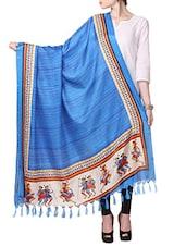 Blue Bhagalpuri Silk Dupatta - By
