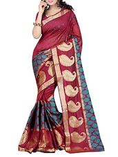 Maroon Banarasi Silk Saree. - By