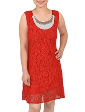 Red Rayon Dress - By